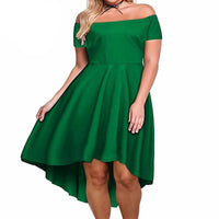 siren Plus Size Sexy Off The Shoulder Dress  Asymmetrical retro Vintage Party Mid-calf A-line Black,green,purple,navy blue,wine red - WomensPlusSizeShop dress