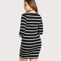 grunge beatnik retro Plus Size Dress Three Quarter Length Sleeve Striped Tee Black White Boat Neck Shift Women Clothing stripes - WomensPlusSizeShop dress