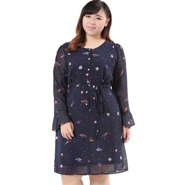 cosmic galaxy plus size women chiffon dress
