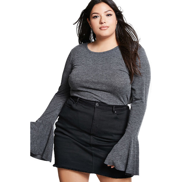 hendrix Womens Plus Size T-shirt Flare angel bell Sleeves Tee shirt Solid Gray Top grey ruffled ruffles - WomensPlusSizeShop tops