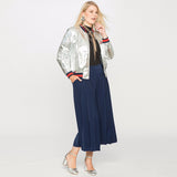 iggy Plus Size silver bomber jacket Fashion Women Clothing Metallic coat - WomensPlusSizeShop coat