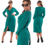 foxy Plus Size sexy wrap midi dress Women Clothing Deep V-Neck Club Party Female Evening green red burgundy - WomensPlusSizeShop dress