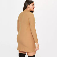 caramel sexy Plus size Bodycon Dress Lace-up Neck Long Sleeve Ladies Women Mini boho - WomensPlusSizeShop dress