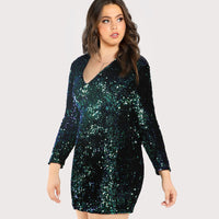 ariel Plus Size Sexy mermaid sequins Dress V Neck Women Bodycon Iridescent Party Sheath - WomensPlusSizeShop dress