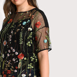 flora Black Plus Size floral Blouse Embroidered Transparent Sexy Mesh Short Sleeve Tops tshirt sheer shirt - WomensPlusSizeShop tops