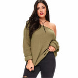 kylie Plus Size One Shoulder Sweater Women Sexy Cold off the Shoulder Top green - WomensPlusSizeShop tops