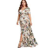 jacinda Floral boho Plus Size Womens Dress White Slit Button Up Front Maxi - WomensPlusSizeShop dress