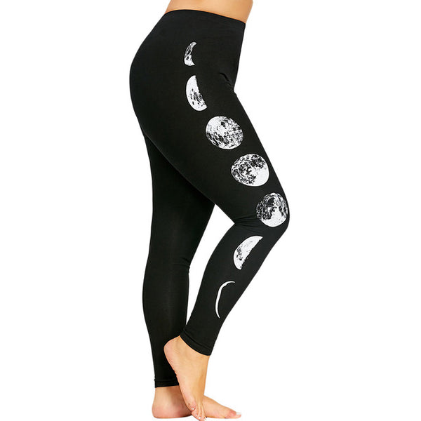 luna Womens Plus Size Moon Leggings eclipse phases black white - WomensPlusSizeShop bottoms