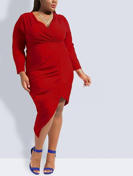 vamp Sexy plus Size Dress cocktail party slit Women black Blue Red Long Sleeve - WomensPlusSizeShop dress