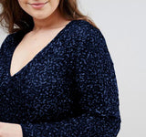 Plus Size Sequin maxi Dress winter long sexy evening party Elegant blue black formal prom cocktail - WomensPlusSizeShop dress