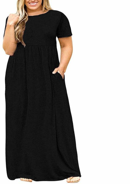 jessica Plus Size Maxi Dress Short Sleeve Long Casual Pockets Solid Black,wine,navy blue green red - WomensPlusSizeShop dress