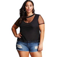 kii sexy plus Size sheet shirt Women Mesh Tops T-shirt - WomensPlusSizeShop tops