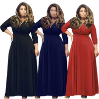 Plus Size Womens Long V Neck Maxi Dress black navy blue red - WomensPlusSizeShop dress