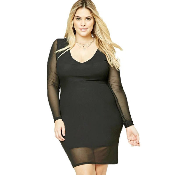 Plus Size Sexy bodycon Dress Sheer Sleeve Deep V Neck black Mini Mesh - WomensPlusSizeShop dress