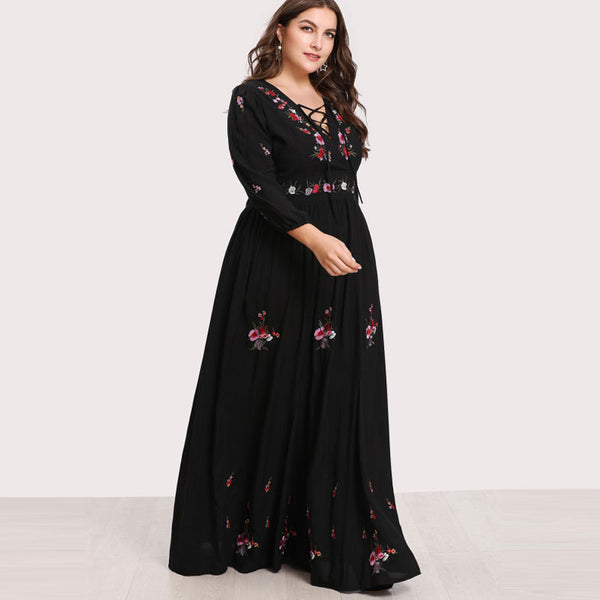boho goth Plus Size Floral Sexy Lace Up Front Flower Embroidered Maxi Dress - WomensPlusSizeShop dress