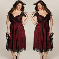 Plus Size Women Sleeveless Lace Long Evening Prom Gown Formal Dress party midi - WomensPlusSizeShop dress