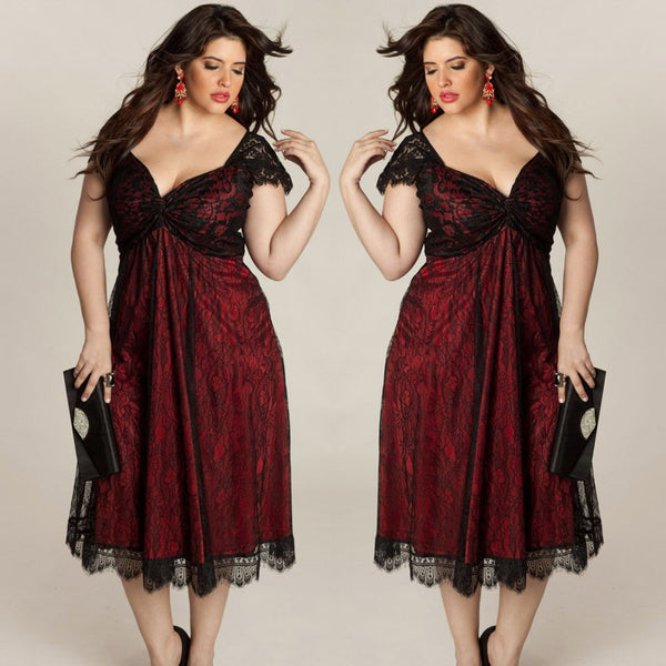 Plus Size Women Sleeveless Lace Long Evening Prom Gown Formal Dress party midi