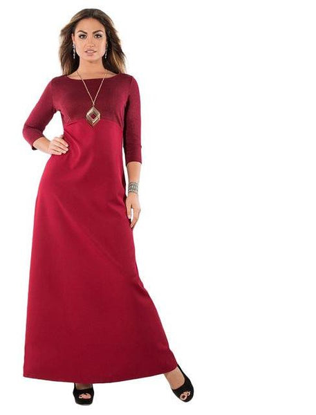 angelina plus Size Maxi Dress Long Women Winter Office Ladies Blue Red Black minimalist sack - WomensPlusSizeShop dress
