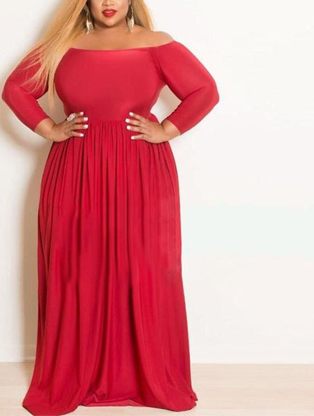 peasant bardot plus size white dress off the shoulder sexy long maxi party Red black - WomensPlusSizeShop dress