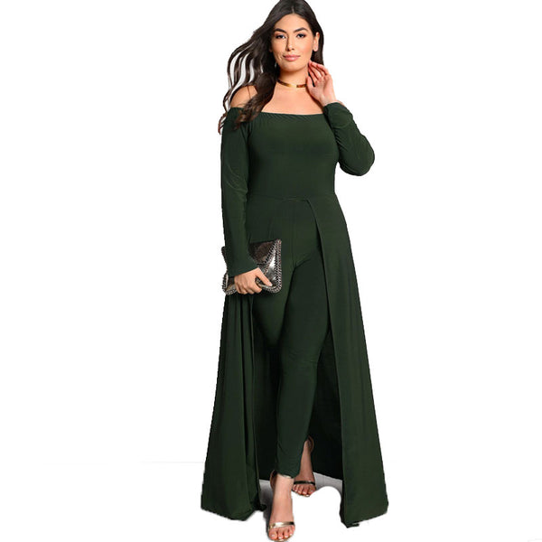 ivy Plus Size Jumpsuit catsuit Army Green Sexy Elegant Off the Shoulder Long Sleeve Party - WomensPlusSizeShop jumpsuit