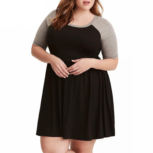 charley Plus Size Casual Skater Dress retro grunge Women Vintage O-neck Short Sleeve Party A-line red grey gray black ringer - WomensPlusSizeShop dress