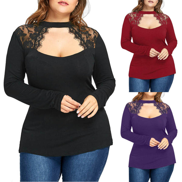 Women's Long Sleeve Plus Size sexy keyhole Lace Blouse Top T-Shirt - WomensPlusSizeShop tops