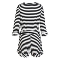 riley Plus Size striped romper Ruffle Black White Stripes - WomensPlusSizeShop jumpsuit