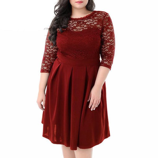 kathryn Plus Size Swing Dress Vintage 3/4 Sleeve Casual Lace A-line Dress V-low Back Party Midi - WomensPlusSizeShop dress