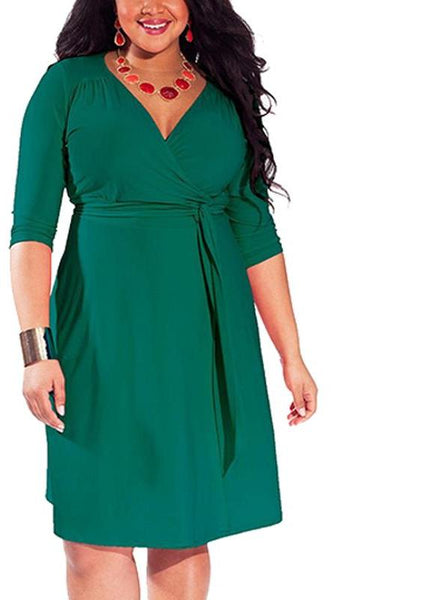 naija Plus Size Dress Sexy wrap Casual Office V-neck Fashionable Clothing green - WomensPlusSizeShop dress