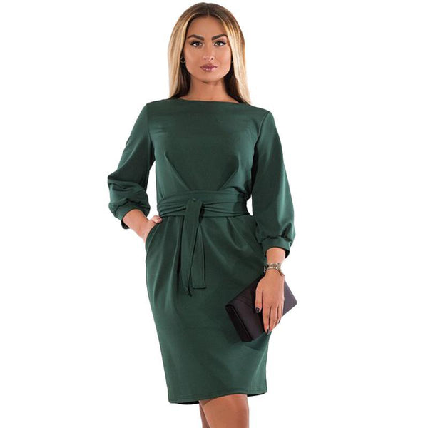 vivienne Plus Size Dress women Casual office Black Green retro Elegant - WomensPlusSizeShop dress
