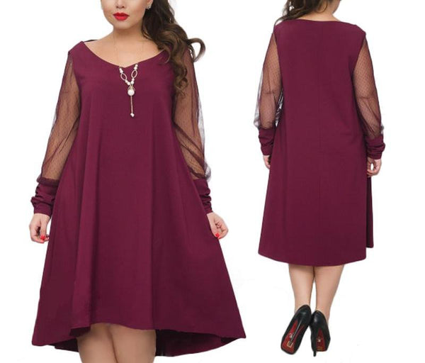sheer trapeze plus size dress long Sleeve shift casual womens Clothing purple black green - WomensPlusSizeShop dress