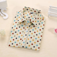 colorful patterns Plus Size Fashion Tops Cotton Women Shirts Long Sleeve Blouse Polka Dot Collar - WomensPlusSizeShop tops