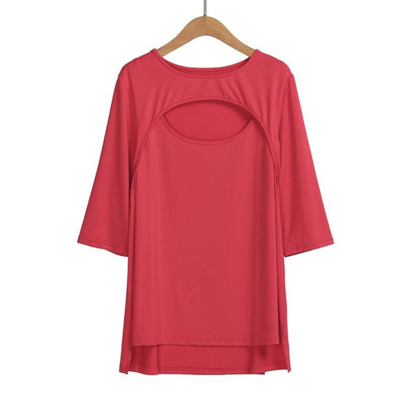sexy Plus Size Women's keyhole Tee Tops Ladies Tshirts