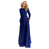 Plus Size grunge Plaid Print Women Long Dress Autumn Winter Fashion red blue - WomensPlusSizeShop dress