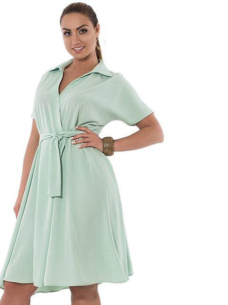 Plus Size wrap Dress Fashion Women Sashes Loose Short Sleeve Collar Casual Clothing blue pastel - WomensPlusSizeShop dress