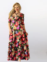 Sexy plus size floral Boho Maxi Dress Women Deep-V Party Vintage loose flower Print - WomensPlusSizeShop dress
