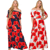 poppies Plus Size white Maxi Dress Loose Long Summer Style Clothing multiple styles/colors red blue purple off the shoulder - WomensPlusSizeShop dress