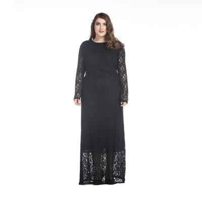 evelyn retro Plus Size Lace Maxi Dress Black White Long Sleeve Elegant - WomensPlusSizeShop dress