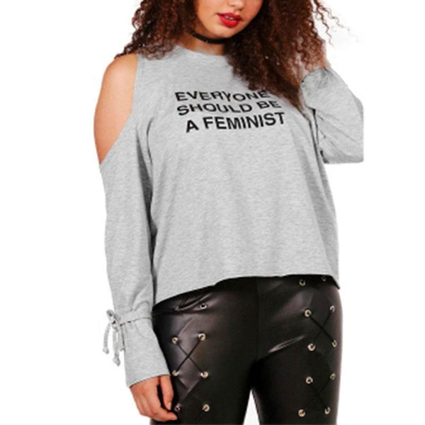 everyone should be a feminist Plus size shirt Women Tops gray Grey Long sleeve T-shirt Tees black cold shoulder - WomensPlusSizeShop tops