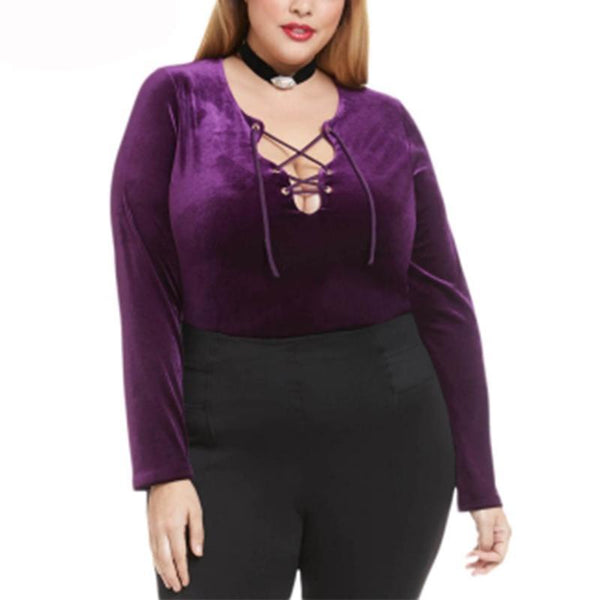 apollonia Plus size Womens Purple velvet lace up sexy top t shirt autumn warm shirts women solid - WomensPlusSizeShop tops
