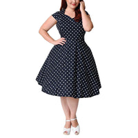 lucille Swing Plus Size Dress Polka Dot Women Party midi retro vintage rockabilly Clothing navy blue - WomensPlusSizeShop dress