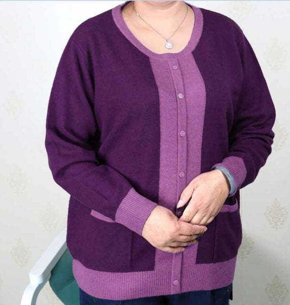 colorblock plus size women clothing cashmere sweater knitted shirt - WomensPlusSizeShop tops