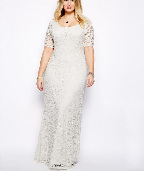 Black White Plus Size Lace Dress Summer Elegant Maxi Long Dress - WomensPlusSizeShop dress