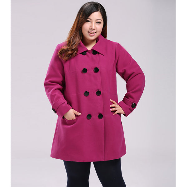 kerry Womens plus size Coat pink black fuchsia Autumn winter Woolen Jacket Wool Overcoat Clothing - WomensPlusSizeShop coat