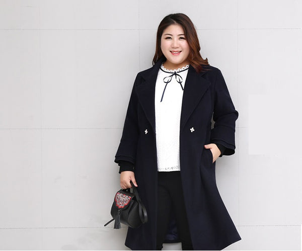 ruffled Plus size Women Winter Coat Woolen Jacket Autumn Slim Long Wool Blue Overcoat - WomensPlusSizeShop coat