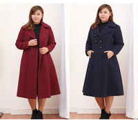 Winter plus size Coat dark red navy blue Women's Long Overcoat Warm Wool Jacket - WomensPlusSizeShop coat