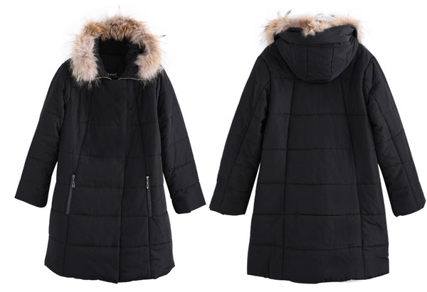 puffy plus size hoodie coat Winter Warm Down cotton hoody Jacket Women Slim Long Cotton Outerwear Hooded Fur collar Black Overcoat - WomensPlusSizeShop coat