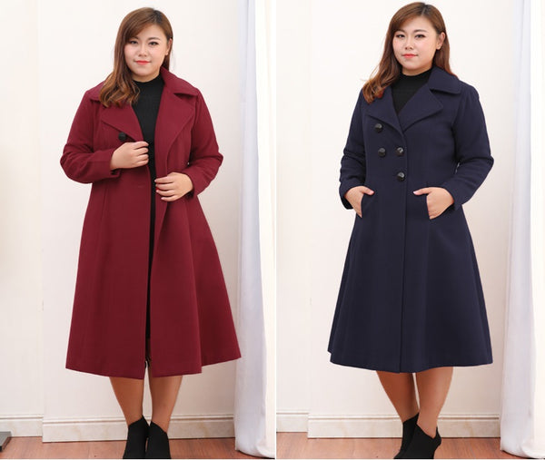 brooklyn plus size Autumn Winter Woolen Jacket Women Slim Long Wool Coat burgundy wine red blue - WomensPlusSizeShop coat