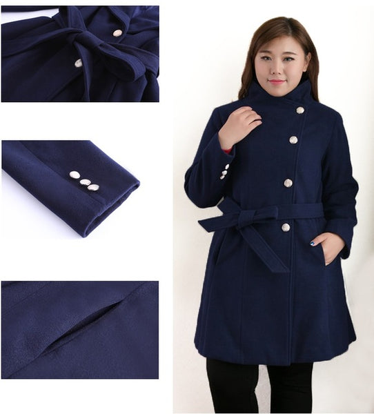 greta plus size Women Woolen Jacket Autumn Winter Slim Long Wool Coat Single-breasted High quality Overcoat - WomensPlusSizeShop coat