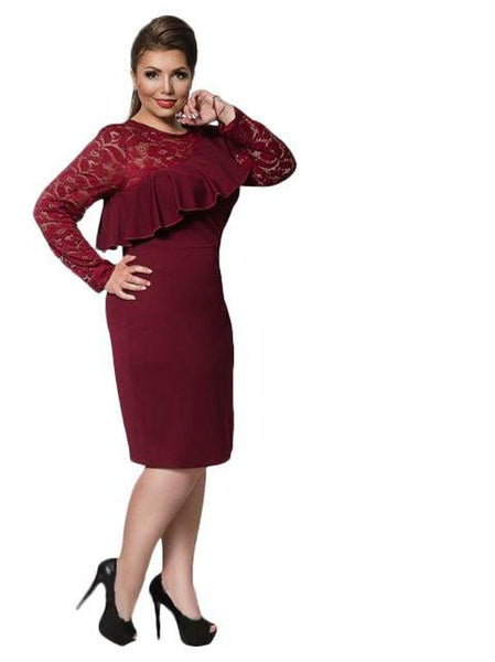 charo ruffled shoulder Plus Size Dress Lace Women Ruffles Bodycon Sexy Party Club black blue red burgundy - WomensPlusSizeShop dress